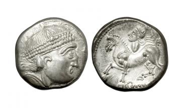 Celts in Eastern Europe, Burgenland or Western Slovakia, Tetradrachm ca. 2nd century BC, Reiterstumpf Type