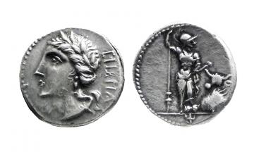 Roman Republic, Roman Social War. Bovianum (?) 89 BC, Denarius