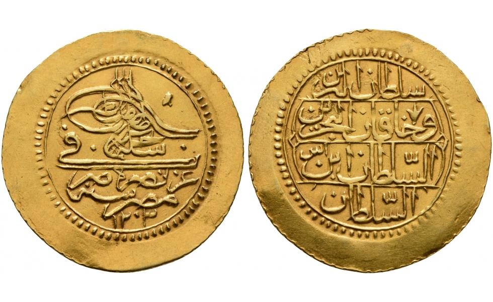Ottoman Empire, Selim III, AH 1203-1222, Gold double Zehri Mahbub AH 1203 (1789 AD)
