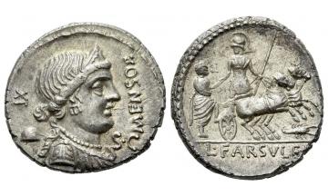 Roman Republic, L. Farsuleius Mensor, Denarius 75, rare