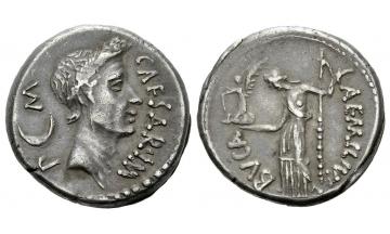 Roman Republic, Iulius Caesar and L. Aemilius Buca, Denarius 44