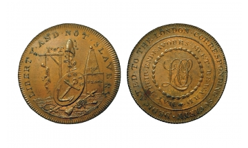 Great Britain, British Token, Middlesex 290, Æ Halfpenny 1796, London, Piccadilly, London Corresponding Society