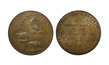 Great Britain, British Token, Middlesex 313, Hall's, CU Halfpenny 1795
