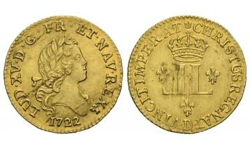 France, Louis XV. (1715-1774), 1/2 Louis d'or aux deux 1722, Lyon