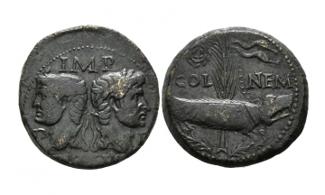 Gallia, Colonia Nemausus, Augustus, 27 BC- AD 14, AE As ca. 10-14
