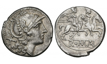 Roman Republic, Rome, Anonymous issue, Denarius after 211 BC, Rome