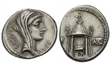 Roman Republic, Rome, Q. Cassius Longinus, Denarius 55 BC, Rome