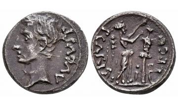 Augustus. 27 BC-AD 14, Quinarius, Emerita, sharp details