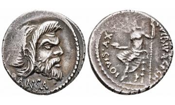 Rome, C. Vibius C.f. C.n. Pansa Caetronianus. 48 BC, Denarius, Rome, Strong portrait