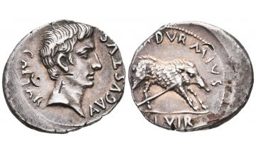 Roman Empire, Augustus, 27 BC - AD 14, Denarius 19/8 BC, Rome, Charming portrait