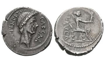 Iulius Caesar and L. Aemilius Buca , Denarius 44 BC, Rome