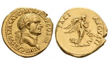 Roman Empire, Vespasian, 69–79, Aureus ca. 72, Lugdunum