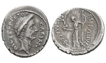 Roman Republic, Iulius Caesar and P. Sepullius Macer, Denarius 44 BC, Rome