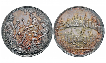 Switzerland, Basel, Large silver medal nd (around 1675), Exceptional city view and NGC Top Pop