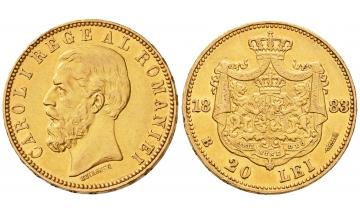 Romania, Carol I, 1866-1914, 20 Lei 1883 B, Bucharest, AU 55