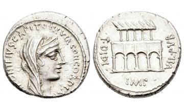 Roman Republic, P. Fonteius P. f. Capito, Denarius 55 BC, Rome