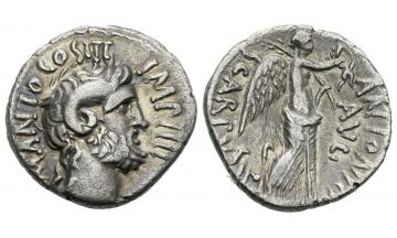 Roman Republic, M. Antonius with M. Pinarius Scarpus, Denarius 31 BC, Cyrenaica