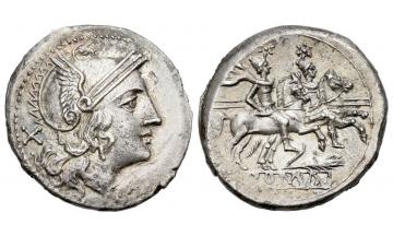 Roman Republic, Corn-ear (third) series, Denarius ca. 211-210 BC, Sicily