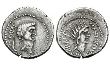 Roman Republic, Marcus Antonius, Denarius 42 BC, Castrensis moneta in Greece (?)