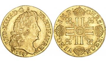 France, Kingdom, Louis XIV, the Great, 1643-1715, Louis d'or 1687, Lyon