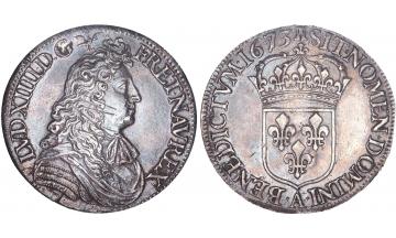 France, Kingdom, Louis XIV, the Great, 1643-1715, White Ecu 1673