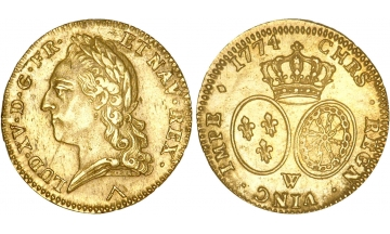 France, Kingdom, Louis XV, the Well-Beloved, 1715-1774, Double Louis d'or 1774, Lille