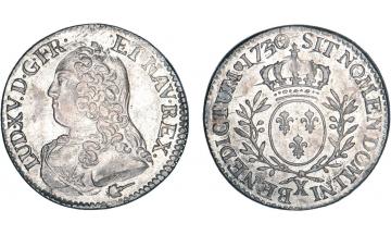 France, Kingdom, Louis XV, the Well-Beloved, 1715-1774, 1/5 Ecu 1730, Amiens