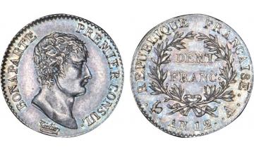 France, Napoleon Bonaparte, 1804-1814, 1st consul, 1/2 Franc AN12, Paris