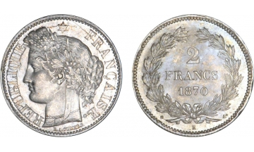 France, Government of National Defense, 2 Francs 1870, Bordeaux, Ceres type