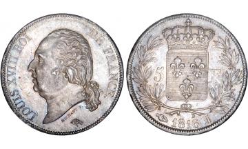 France, Louis XVIII, 1814-1824, 5 Francs 1816, Limoges
