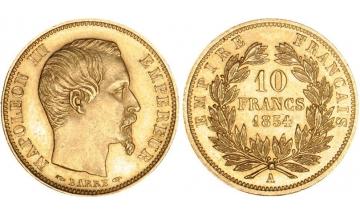 France, Napoleon III, 1852-1870, 10 Francs 1854, Paris
