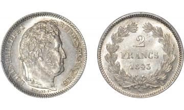 France, Louis-Philippe I, 1830-1848, 2 Francs 1843, Rouen