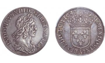France, Kingdom, Louis XIII, the Just, 1610-1643, 1/4 Ecu of 15 Sols 1643, Paris