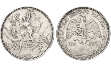 Mexico, Republic, 1836 - until today, Peso 1909, PATTERN