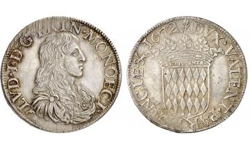 Monaco, Louis I, 1662-1701, Ecu 1672