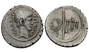 Roman Republic, M. Arrius Secundus, Denarius 43 BC, Rome