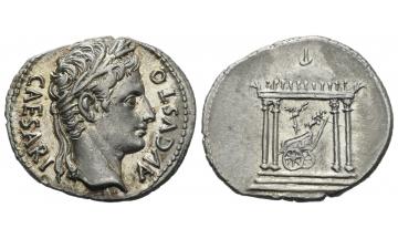 Roman Empire, Octavian as Augustus, 27 BC – AD 14, Denarius ca. 18 BC, Colonia Patricia (?)