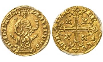 France, Philippe IV, 1285-1314, Petit royal d'or 1290, Very rare. Ex Paul Bordeaux Coll.