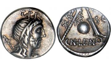 Roman Republic, Cn. Cornelius Lentulus Marcellinus, 76-75 BC, Denarius, Rome
