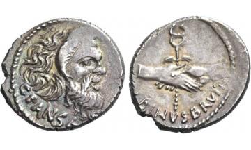 Roman Republic, C. Vibius C.f. C.n. Pansa & D. J. Brutus Albinus, 48 BC, Denarius, Rome