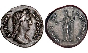 Roman Empire, Sabina, wife of Hadrian, 86-136, Denarius