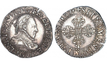 France Kingdom, Catholic League in the name of Henry III, 1589-1596, 1/4 Franc 1587, G Poitiers