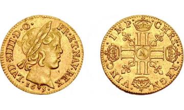 France Kingdom, Louis XIV the Great, 1643-1715, 1/2 Louis d'or 1645, Paris