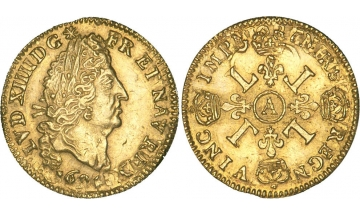 France Kingdom, Louis XIV the Great, 1643-1715, 1/2 Louis d'Or 1694, Paris