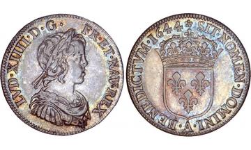 France Kingdom, Louis XIV the Great, 1643-1715, 1/4 Silver Ecu 1644, Paris