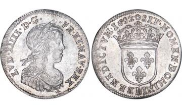 France Kingdom, Louis XIV the Great, 1643-1715, 1/4 Silver Ecu 1652, Rouen