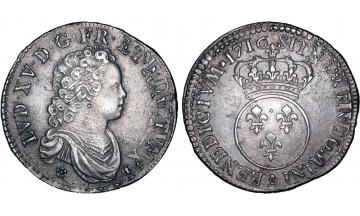 France Kingdom, Louis XV the Well-Beloved, 1715-1774, 1/2 Ecu 1716, Paris