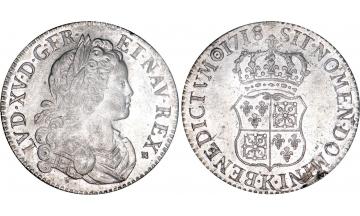 France Kingdom, Louis XV the Well-Beloved, 1715-1774, Ecu 1718, Bordeaux