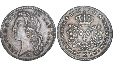 France Kingdom, Louis XV the Well-Beloved, 1715-1774, 1/5 Ecu 1755, Bordeaux