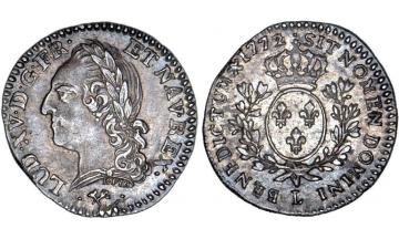 France Kingdom, Louis XV the Well-Beloved, 1715-1774, 1/10 Ecu 1772 (over 1769), Bayonne